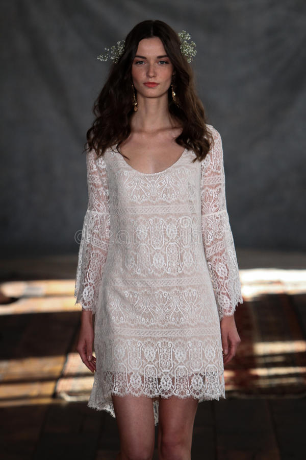 NEW YORK, NY - June 16: A model walks the runway at the Claire Pettibone Spring 2015 Bridal collection show stock images