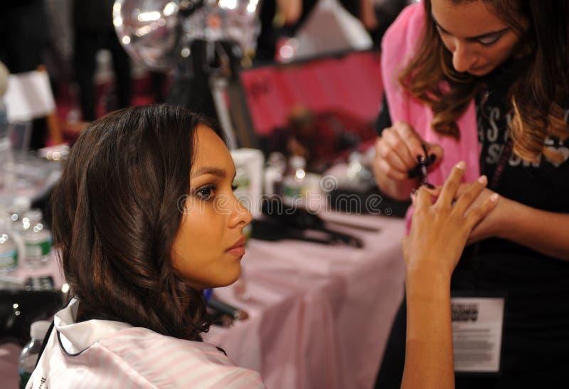 NEW YORK, NY - NOVEMBER 13: Model Jasmine Tookes During Nails Preparation At The 2013 Victoria S Secret Fashion Show Editorial Image