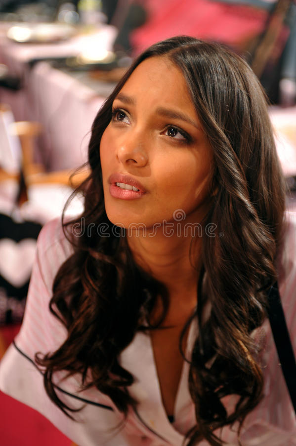Download NEW YORK, NY - NOVEMBER 13: Model Lais Ribeiro Prepare At The 2013 Victoria's Secret Fashion Show Editorial Stock Photo - Image: 35259548