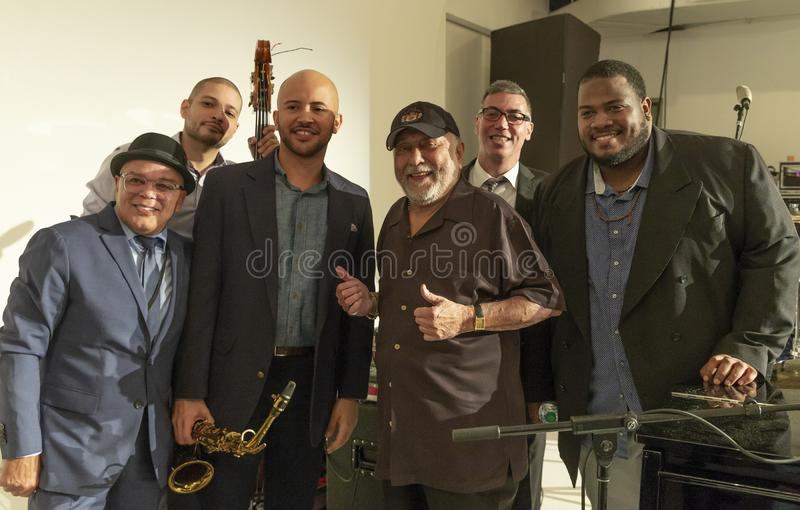 Jazz Loft Party 2018. New York, NY - October 13, 2018: Eddie Palmieri Afro-Carribean Jazz Sextet performs at Loft Party A Night for the Soul for Jazz Foundation stock photos