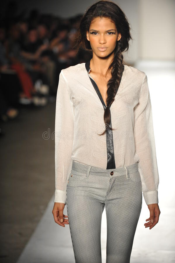 Free NEW YORK, NY - SEPTEMBER 05: A Model Walks The Runway At The DL 1961 Premium Denim Spring 2013 Fashion Show Stock Images - 28867494