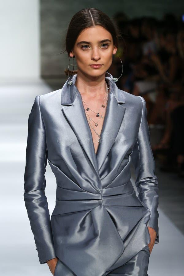 Free NEW YORK, NY - SEPTEMBER 05: Model Carolina Thaler Walks The Runway At The Zimmermann Fashion Show Royalty Free Stock Photos - 46983878