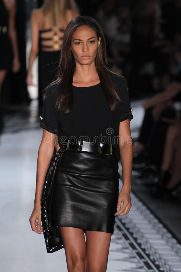 NEW YORK, NY - SEPTEMBER 07: Model Joan Smalls walks the runway at the Versus Versace Spring 2015 Collection stock photography