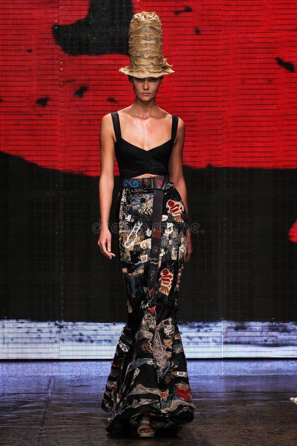 NEW YORK, NY - SEPTEMBER 08: Model Karlie Kloss walks the runway at Donna Karan Spring 2015 collection royalty free stock image