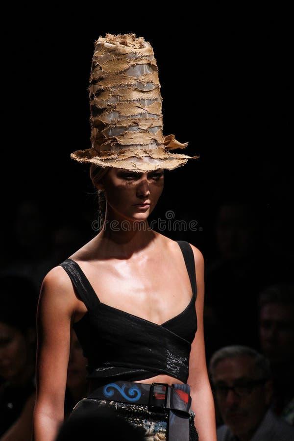 NEW YORK, NY - SEPTEMBER 08: Model Karlie Kloss walks the runway at Donna Karan Spring 2015 collection royalty free stock photos