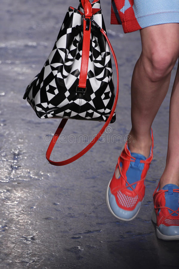 NEW YORK, NY - SEPTEMBER 07: Model Lera Tribel walks the runway at DKNY Spring 2015 fashion collection royalty free stock image