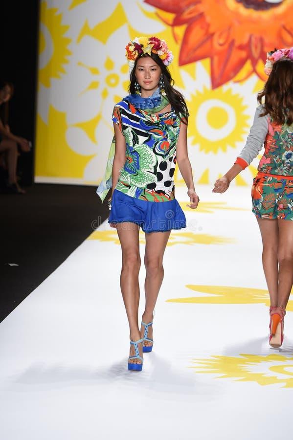 NEW YORK, NY - SEPTEMBER 04: A model walks the runway at Desigual stock photo