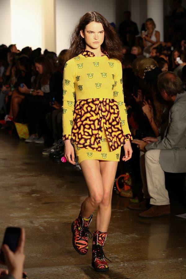NEW YORK, NY - SEPTEMBER 10: A model walks the runway at the Jeremy Scott fashion show royalty free stock image