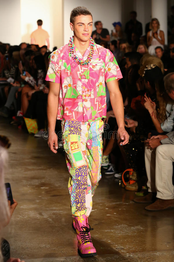 NEW YORK, NY - SEPTEMBER 10: A model walks the runway at the Jeremy Scott fashion show royalty free stock images
