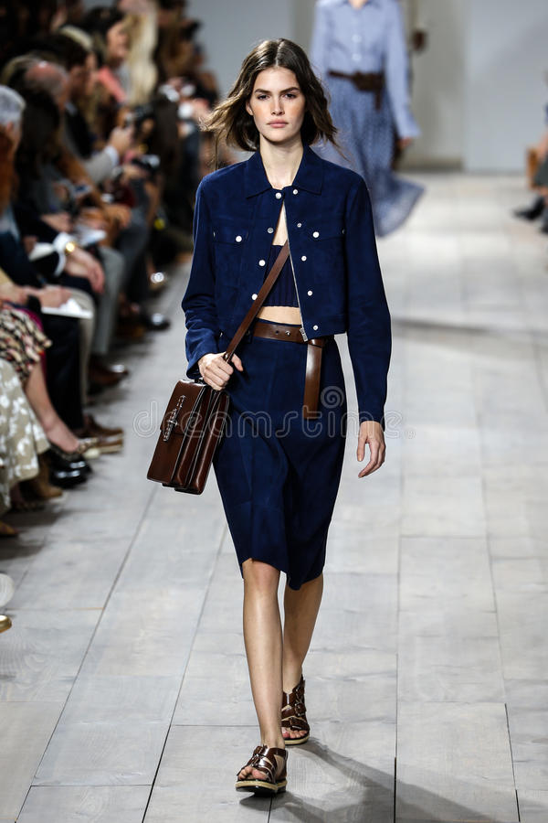 Download NEW YORK, NY - SEPTEMBER 10: A Model Walks The Runway At Michael Kors Spring 2015 Fashion Collection Editorial Photography - Image of designer, benz: 46534452