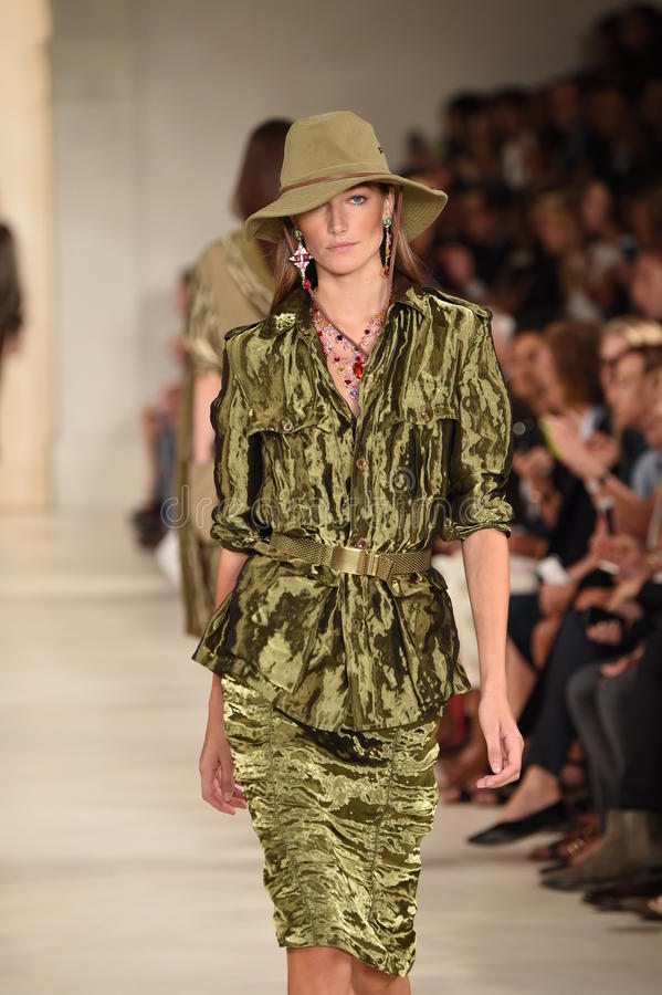 NEW YORK, NY - SEPTEMBER 11: A model walks the runway at Ralph Lauren fashion show royalty free stock photo
