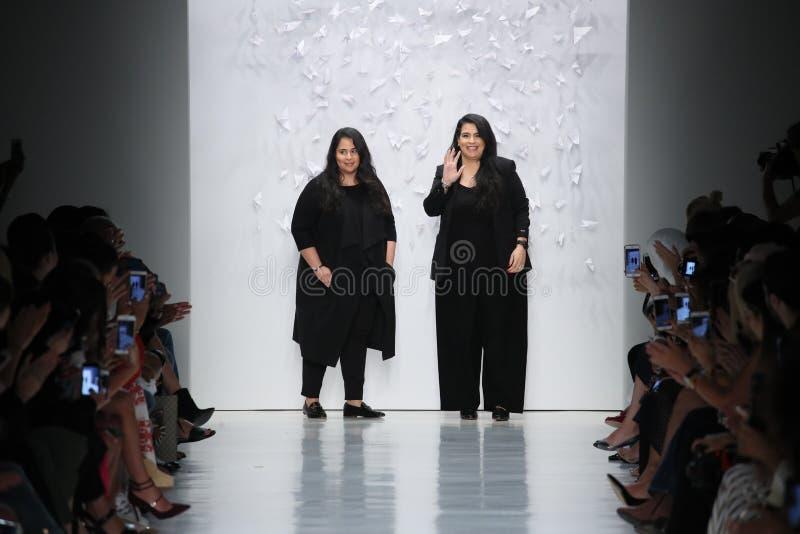 Shaikha Noor Al Khalifa and Shaikha Haya Al Khalifa walk the runway for Noon By Noor fashion show. NEW YORK, NY - SEPTEMBER 07: Shaikha Noor Al Khalifa and royalty free stock photography