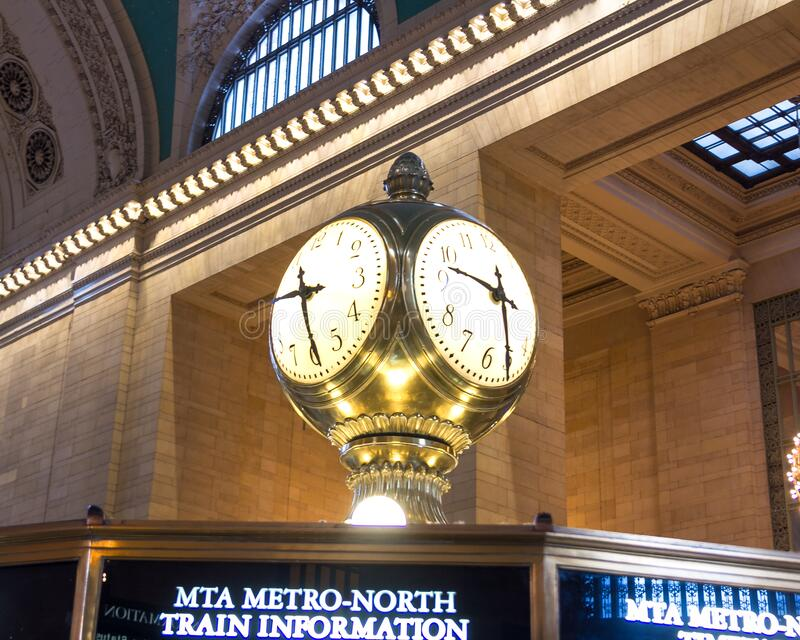 New York, NY / United States - Feb. 15, 2015: Interior image of the Tiffany Information Booth Clock at Grand Central Terminal. Inside horizontal image of the stock photography