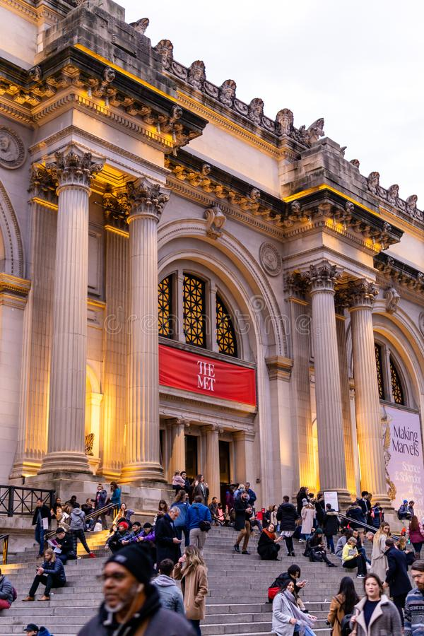 New York, NY / United States - Jan. 4, 2020: Vertical image of the entrance of the Metropolitan Museum of Art at the end of the. Photo of the entrance of the stock photography