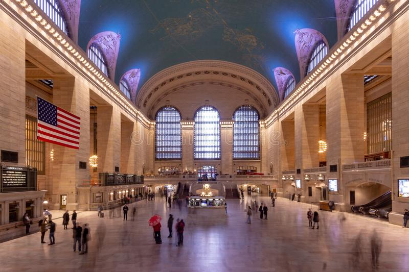 New York, NY / United States - Mar. 25, 2019: Landscape of interior of Grand Station Terminal in Manhattan royalty free stock photo