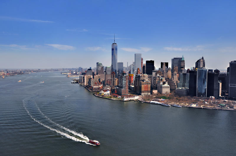 NEW YORK, NY, USA: Aerial View of the Downtown Manhattan in New York. Manhattan is a major commercial, economic, and cultural cent. Aerial View of the Downtown stock photo