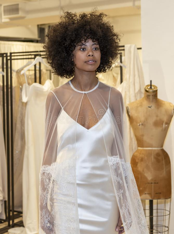 Savannah Miller 2020 Presentation. New York, NY, USA - April 13, 2019: A models shows out dress for Savannah Miller Spring 2020 Presentation during New York royalty free stock photo