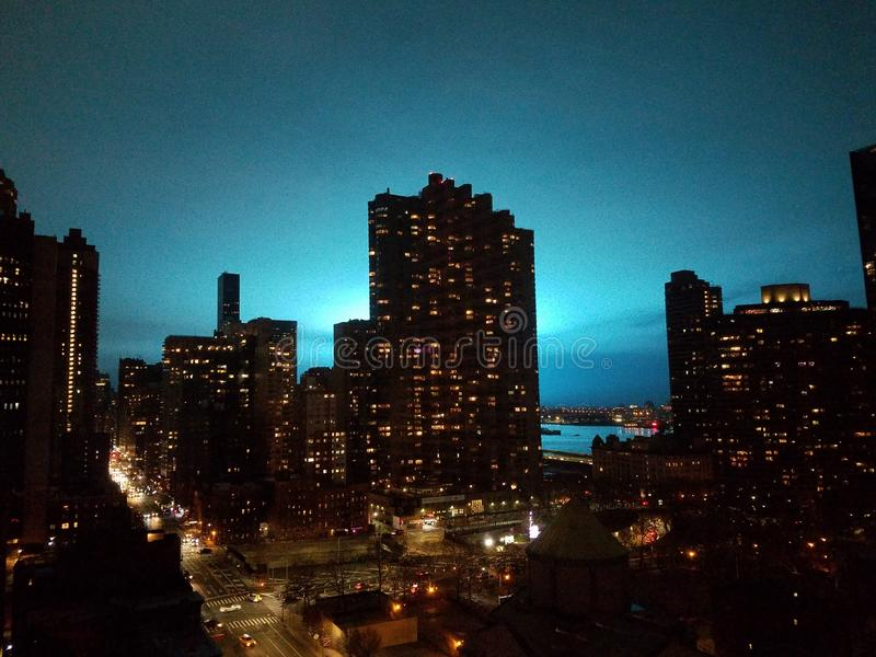 New York, NY USA, December 27, 2018: East midtown view of east river and Queens, of Con Ed electrical transformer explosion stock photo