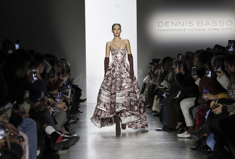 Dennis Basso AW 2020. New York, NY, USA - February 9, 2020: A model walks runway for Dennis Basso Fall/Winter 2020 Collection during New York Fashion Week at stock images