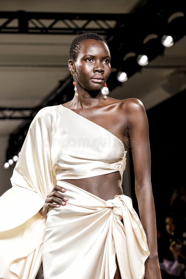 Fe Noel FW 2020. New York, NY, USA - February 12, 2020: A model walks runway for Fe Noel by Felisha Noel Fall/Winter 2020 Collection during New York Fashion Week royalty free stock images