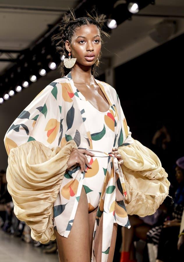 Fe Noel FW 2020. New York, NY, USA - February 12, 2020: A model walks runway for Fe Noel by Felisha Noel Fall/Winter 2020 Collection during New York Fashion Week stock image