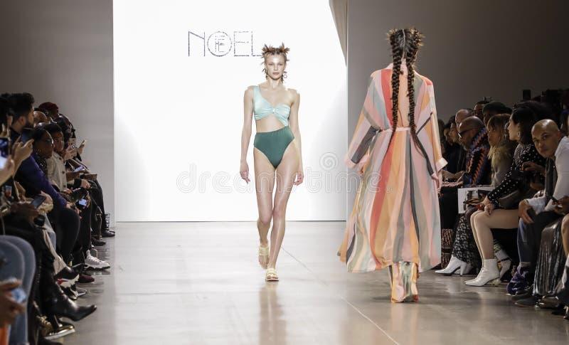 Fe Noel FW 2020. New York, NY, USA - February 12, 2020: A model walks runway for Fe Noel by Felisha Noel Fall/Winter 2020 Collection during New York Fashion Week stock photography