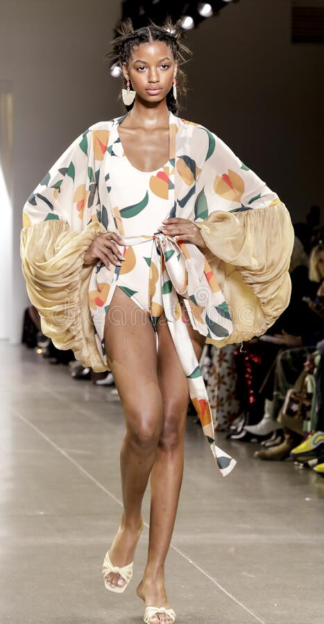 Fe Noel FW 2020. New York, NY, USA - February 12, 2020: A model walks runway for Fe Noel by Felisha Noel Fall/Winter 2020 Collection during New York Fashion Week stock photos