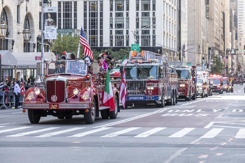 Columnbus Day Parade NYC 2019. New York, NY, USA - October 14, 2019: Fire Department trucks moves along Fifth Avenue during 75th Annual Columbus Day Parade stock image