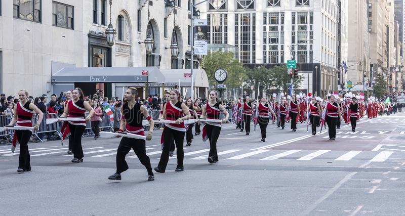 Columnbus Day Parade NYC 2019. New York, NY, USA - October 14, 2019: Marching bands moves along Fifth Avenue during 75th Annual Columbus Day Parade, Manhattan royalty free stock photo