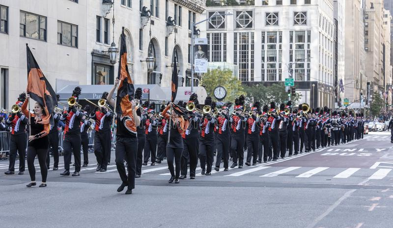 Columnbus Day Parade NYC 2019. New York, NY, USA - October 14, 2019: Marching bands moves along Fifth Avenue during 75th Annual Columbus Day Parade, Manhattan royalty free stock image