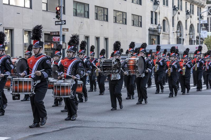 Columnbus Day Parade NYC 2019. New York, NY, USA - October 14, 2019: Marching bands moves along Fifth Avenue during 75th Annual Columbus Day Parade, Manhattan royalty free stock photos