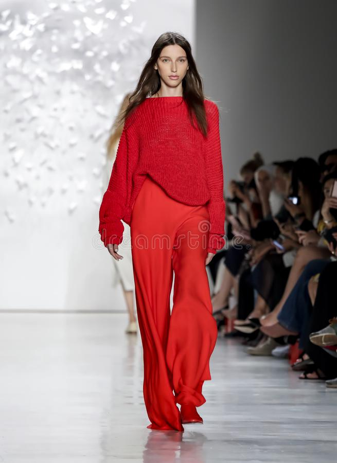 Noon by Noor SS 2018. New York, NY, USA - September 7, 2017: A model walks runway for the Noon by Noor Spring/Summer 2018 runway show during New York Fashion stock photos