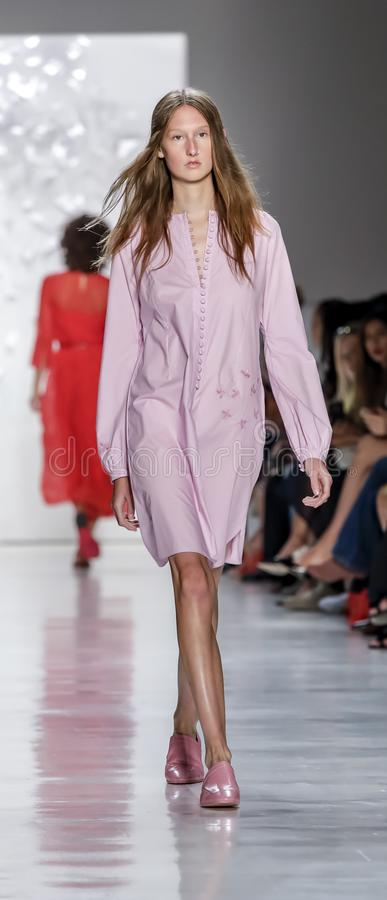 Noon by Noor SS 2018. New York, NY, USA - September 7, 2017: A model walks runway for the Noon by Noor Spring/Summer 2018 runway show during New York Fashion royalty free stock images