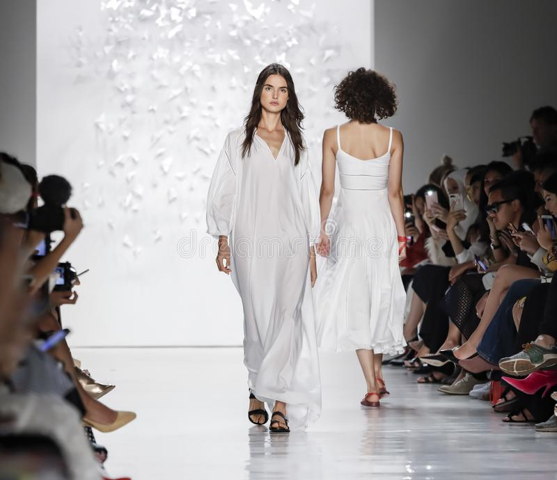 Noon by Noor SS 2018. New York, NY, USA - September 7, 2017: A model walks runway for the Noon by Noor Spring/Summer 2018 runway show during New York Fashion stock images