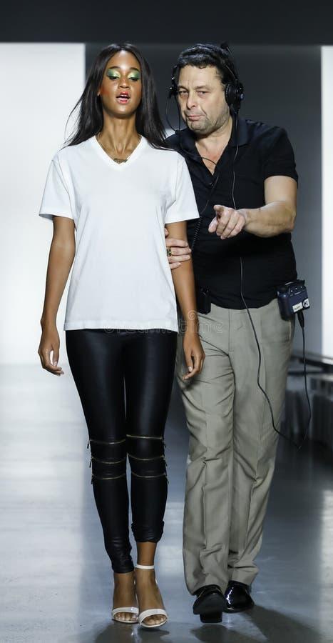 Dan Liu SS19. New York, NY, USA - September 11, 2018: A model walks runway rehearsal for Dan Liu Spring/Summer 2019 collection during New York Fashion Week at stock photo
