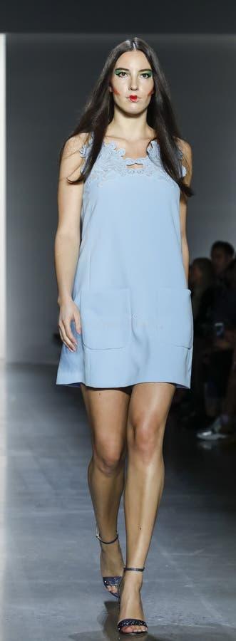 Dan Liu SS19. New York, NY, USA - September 11, 2018: A model walks runway to present Dan Liu Spring/Summer 2019 collection during New York Fashion Week at stock photography