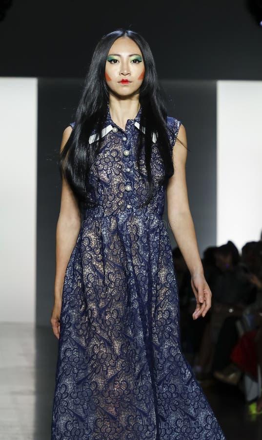 Dan Liu SS19. New York, NY, USA - September 11, 2018: A model walks runway to present Dan Liu Spring/Summer 2019 collection during New York Fashion Week at stock image