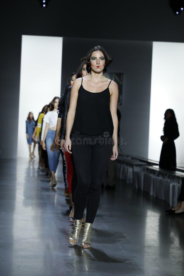 Dan Liu SS19. New York, NY, USA - September 11, 2018: Models walk runway rehearsal for Dan Liu Spring/Summer 2019 collection during New York Fashion Week at stock photo