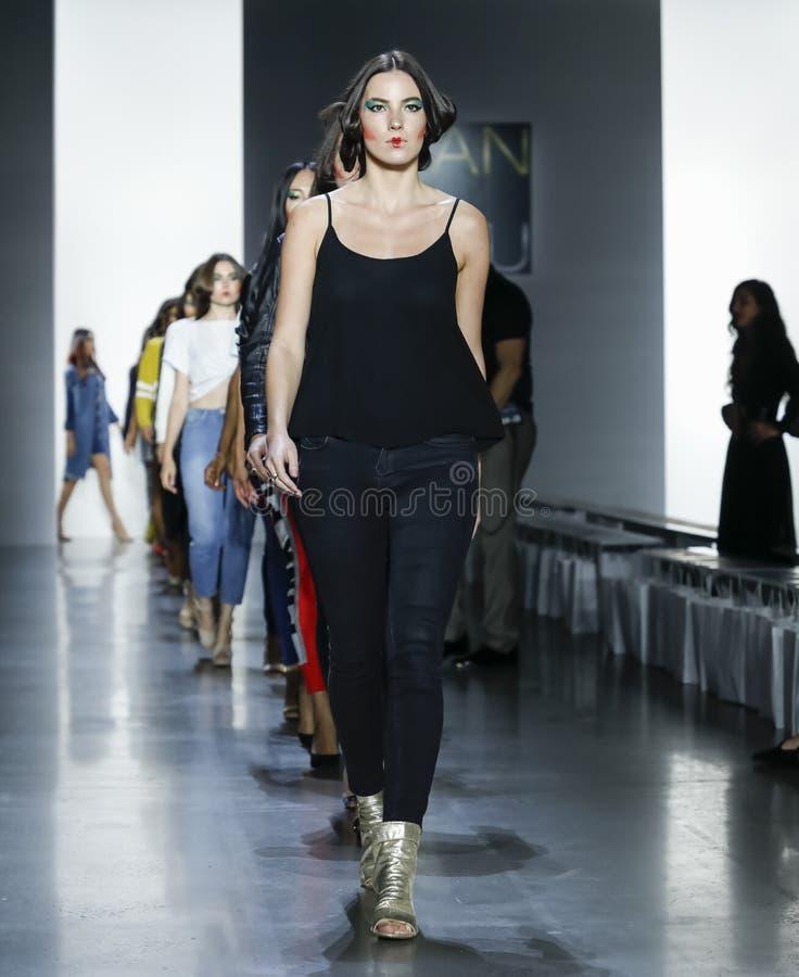 Dan Liu SS19. New York, NY, USA - September 11, 2018: Models walk runway rehearsal for Dan Liu Spring/Summer 2019 collection during New York Fashion Week at stock image