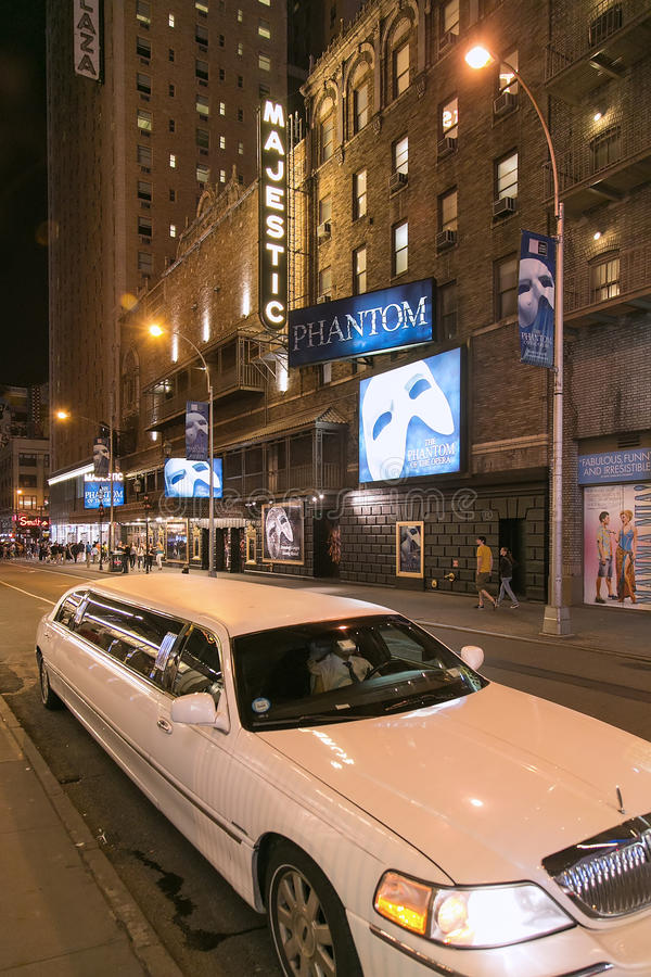 New York, NY, USA - September 16, 2014. Night shot of the Majestic Theater at West 44th Street stock photos