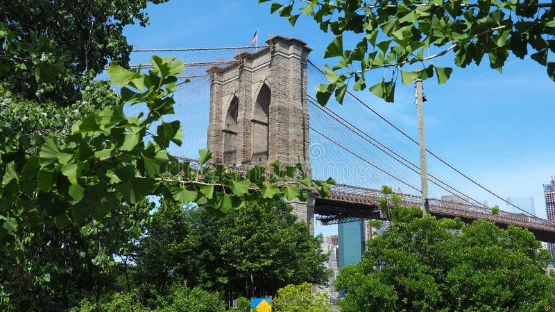 New York, NY, USA. Views of the Manhattan bridge from the historic and trendy Dumbo neighborhood. Wonderful summer day. Holiday time stock image