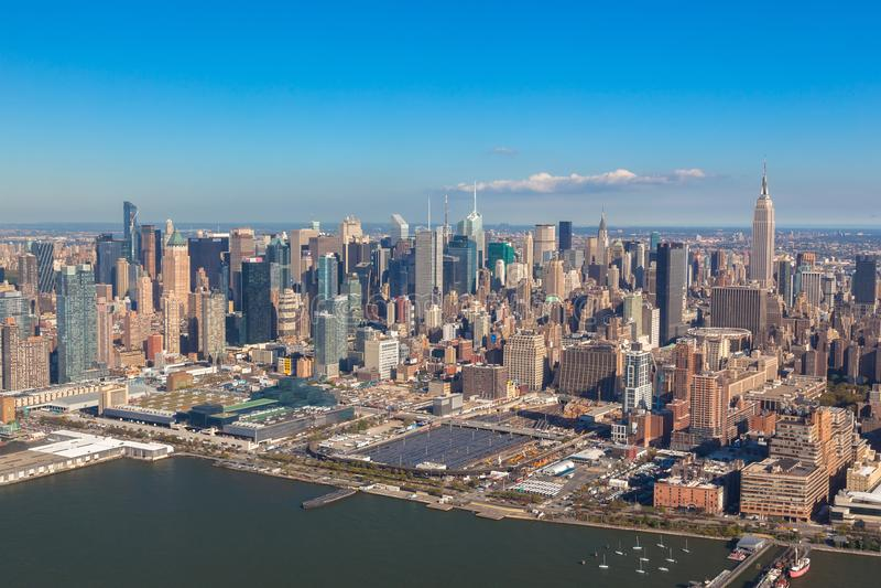 New York NYC Fäll ned Manhattan Helikoptersikt arkivbild