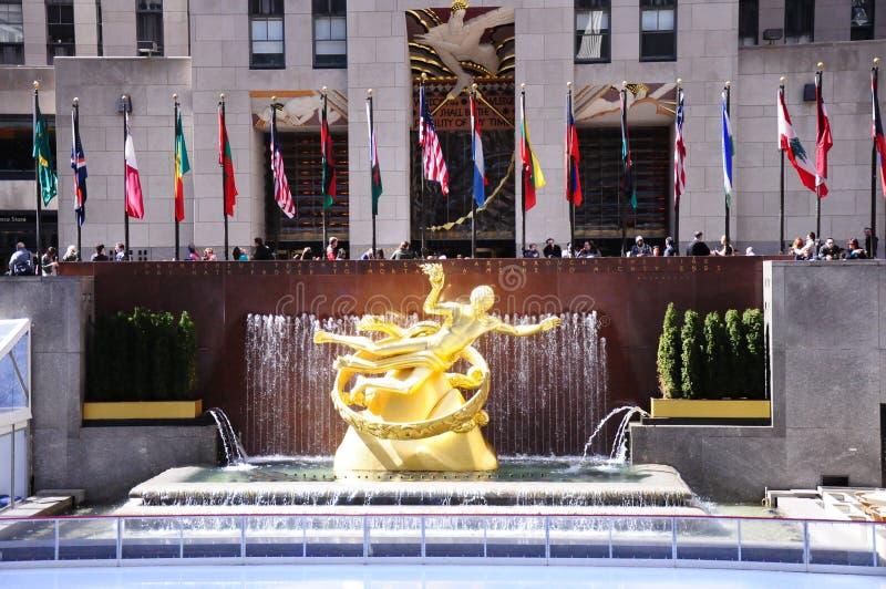 New York NYC Prometheus Statue at Rockefeller Center stock image
