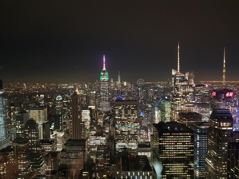 New-York nyc rockfeller night building view sky roof ny. New-York nyc rockfeller night building view sky ny royalty free stock image