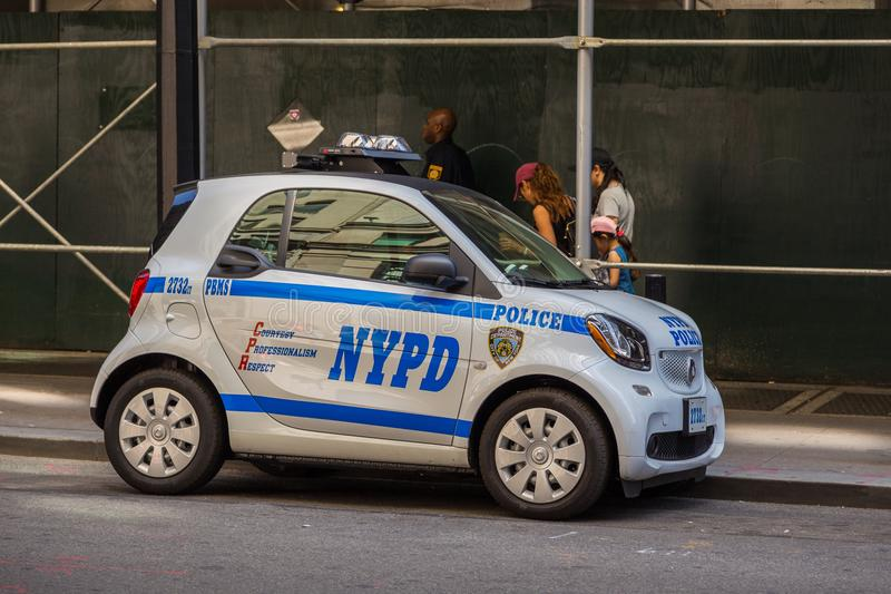 Police NYPD Smart car on the Manhattan street. New York, NYC, USA- August 26, 2017: Police NYPD Smart car on the Manhattan street. Car used for traffic control royalty free stock photo