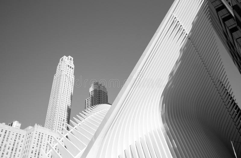 NEW YORK - October 15, 2016 architectonic details in Ground Zero. Located in lower Manhattan royalty free stock photo