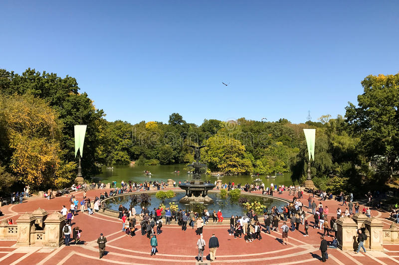 NEW YORK - OCTOBER 14, 2016 Historic Bethesda fountain in the he stock image