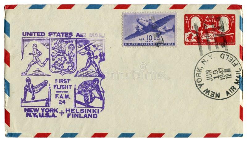 New York, Os EUA - 19 de junho de 1947: Envelope histórico dos E.U.: a tampa com prestígio do esporte une voo Helsínquia Fi do co fotografia de stock royalty free