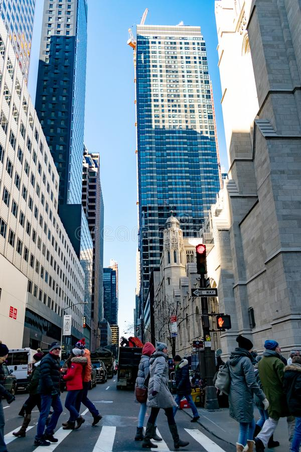 New York Outdoor Scence of Streets. This image was taken while traveling the streets of NY in December 2017 stock image
