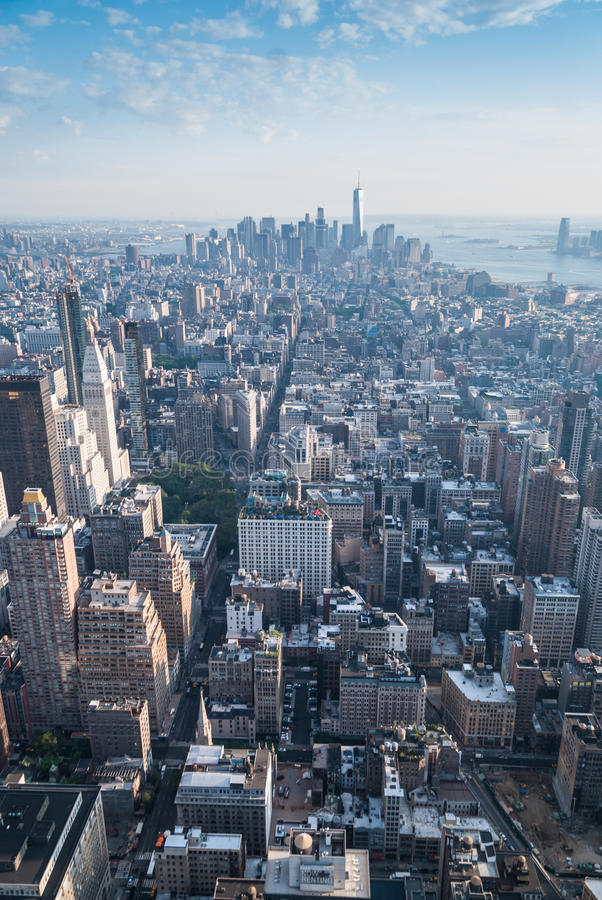 New York panorama. Aerial view of Manhattan`s midtown and downtown royalty free stock image